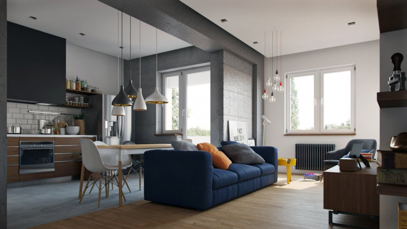 современный интерьер однокомнатной квартиры