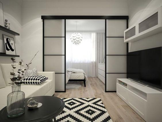 Зонирование однокомнатной квартиры раздвижными дверями